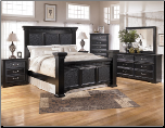 Black Finished Bedroom Set with Mansion Bed, Cavallino Collection Signature Design by Ashley Furniture