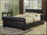 Black Leather-Like Vinyl Sleigh Bed