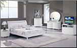 EMILY -Classic White High Gloss Finish Contemporary Bedroom Set by Global Furnither USA (King)