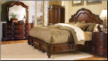 Traditionally Styled Dark Natural Color Bedroom Set with Panel Bed, 'Prenzo' Collection by Homelegance.