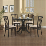 Coaster Maple Round Collection 5-Piece Dining Set Table and 4 Chairs Package - 101081+(2)101082
