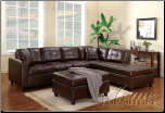Milano Brown Bonded Leather Match Sectional Set (SKU: AC-  50093 SET)