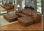 Orian Brown Bonded Leather Match Sectional Set (SKU: AC- 50170 SET)