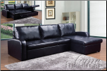 Hanley Black Bonded Leather Match Sectional Set (SKU: AC- 50185 SET)