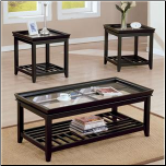 Acme Furniture 6362 Ava 3 Piece Coffee and End Table Set with Glass Tops at Wholesale 2 U LLC