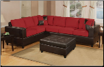 Contemporary 2 Pieces Red Microfiber Sectional Sofa Set (SKU: PXSS-F7638-SECTIONAL)