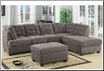 Sectional Sofa Waffle Suede Charcoal F7139 Poundex (SKU: PXSS-F7139-SECTIONAL)
