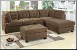 Sectional Sofa Waffle Suede Truffle F7140 Poundex (SKU: PXSS-F7140-SECTIONAL)