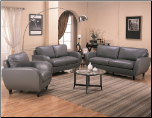 Piven Sofa in Gray Bonded Leather Upholstery by Coaster - 502361 (SKU: CO502361-SET)