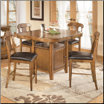 Wood Counter Height Dining Set with Storage Table, 'Mannus' Collection. Signature Design by Ashley Furniture (SKU: AB-D545-CH-SET)