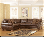 Signature Design by Ashley DuraBlend - Antique Sectional with Rolled Arms and Wood Bun Feet (SKU: AB-21300-SECSET)