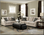 Lexi - Stone Contemporary Plush Flared Arm Stationary Sofa with Accent Pillows by Signature Design by Ashley (SKU: AB-73105-L-SET)