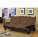 Coaster Casual Convertible Coffe Microfiber Futon Sofa Bed
