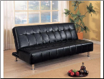 Coaster 300118 Black Leather like Vinyl Futon Sofa Bed