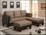 Lauren 3 Piece Sofa Bed Set Tan Microfiber/Brown Vinyl by Coaster - 300160 (SKU: CO - 300160)