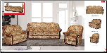 ESF  - Sara Classic 2 Pcs Living Room Set with Wood Trim (Sofa, Loveseat and Chair) - ESF Furniture (SKU: ESF- Sara Modern fabric LRS)