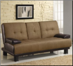 300134Two-Tone Tan & Brown Convertible Sofa Bed with Drop Down Console