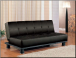 Coaster 300163 Black Leather like Vinyl Futon Sofa Bed Klik Klak