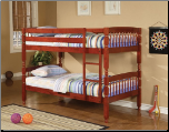 Twin over Twin Lattice Design Bunk Bed in Rich Cherry Finish by Coaster - 460221 (SKU: CO-460221)