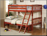 Twin over Full Lattice Design Bunk Bed in Rich Cherry Finish by Coaster - 460222 (SKU: CO-460222)