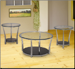 3 Piece Occasional Table Sets Contemporary Chrome and Glass Occasional Table Set by Coaster