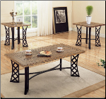 3 Piece Occasional Table Sets Coffee Table and End Table Set w/Metal Base by Coaster