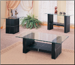 Williams Contemporary Cocktail Table with Bonded Leather Base and Glass Top by Coaster (SKU: CO-3897)
