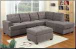 Charcoal Waffle Suede Tufted Modern Sectional Sofa w/Ottoman