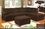 Poundex Bobkona 2 Piece Stripe Bella Sectional Sofa in Rich Chocolate finsh - F7135 (SKU: PXSS-F7135-SECTIONAL)