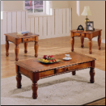 3 Piece Occasional Table Set in a Dark Oak Finish by Coaster