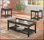 3 Piece Occasional Table Set with Beveled Glass by Coaster
