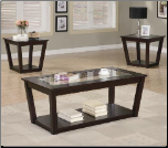 Contemporary 3 Piece Occasional Table Set with Glass Tops (SKU: CO-701506)
