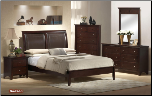 Hudson  - Traditionally Styled Cherry Finish  Colored 6 PCS Complete Bedroom Set with Leather Panel Bed (SKU: EM- Hudson -QSET)