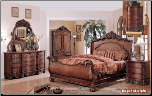 RegalSleigh  - Solid Wood Cherry Traditional Bedroom Set. (SKU: EM- RegalSleigh-KSET)