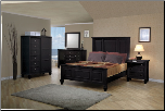 Sandy Beach Bedroom Set with Panel Bed in Black Finish - 201321 (SKU: CO-K201321-SET)