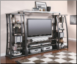 Coaster Sleek Metal Glass Finish TV Television Stand Console