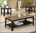 3 Piece Occasional Table Sets 3 Piece Occasional Table Set with Shelf and Marble Look Top by Coaster (SKU: CO-700155)