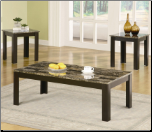 3 Piece Occasional Table Sets Coffee and End Table Set w/ Marble-Looking Top by Coaster
