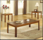 3 Piece Occasional Table Set with Pine Veneers by Coaster