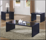 3 Piece Occasional Table Set with Black Tempered Glass by Coaster