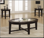 3 Piece Occasional Table Sets 3 Piece Occasional Table Set with Tempered Glass Insert by Coaster