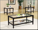3 Piece Occasional Table Set with Beveled Glass Inserts by Coaster