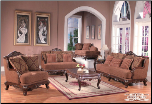 Traditional French Provincial 2 PC Fabric Living Room Set (Sofa and Loveseat (SKU: EM-615)
