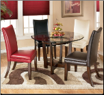 Signature Design by Ashley Charrell Round Glass Top Table Dinning Table Set (SKU: AB-D357)