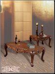 herry Brown Traditional Classic 3Pc Table Set w/Hand Carvings (SKU: EM-296)
