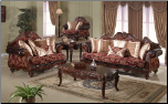 672 Imported Fabric with Cherry finish 2 PC Living Room Set (Sofa and Loveseat)