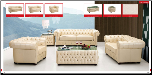 ESF  - Cassic Ivory Leather Living Room Set