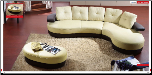 ESF  - Green And Black Leather Sectional Sofa Set - ESF Furniture