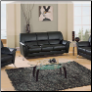 9103 Living Room Set -Vinyl  Black - Global Furniture