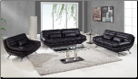 A176 Living Room Set - Ultra Bonded leather Black - Global Furniture